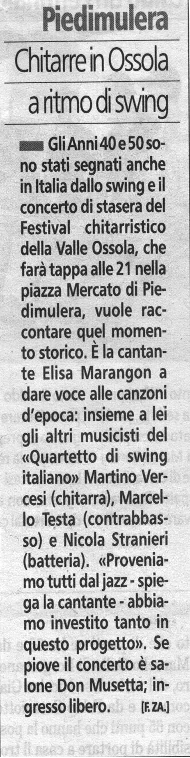 LA STAMPA-19-07-15-Quartetto Swing Italiano Festival Chitarristico Valle Ossola 1